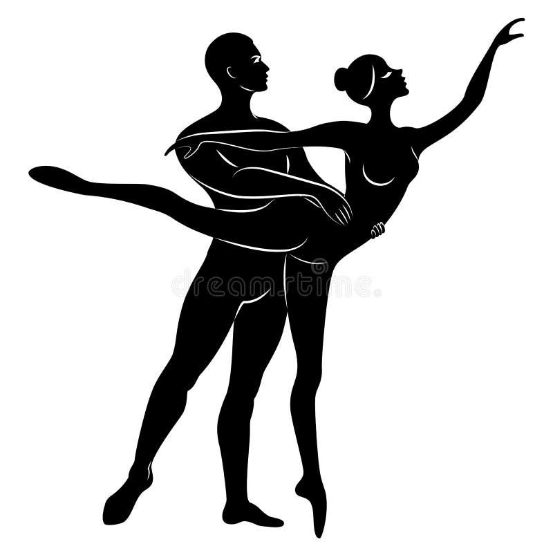 Schattenbild einer netten Dame und der Jugend, tanzen sie Ballett Die Frau und der Mann haben sch?ne schlanke Zahlen M?dchenballe stock abbildung