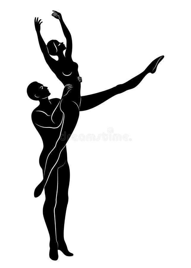 Schattenbild einer netten Dame und der Jugend, tanzen sie Ballett Die Frau und der Mann haben sch?ne schlanke Zahlen M?dchenballe lizenzfreie abbildung