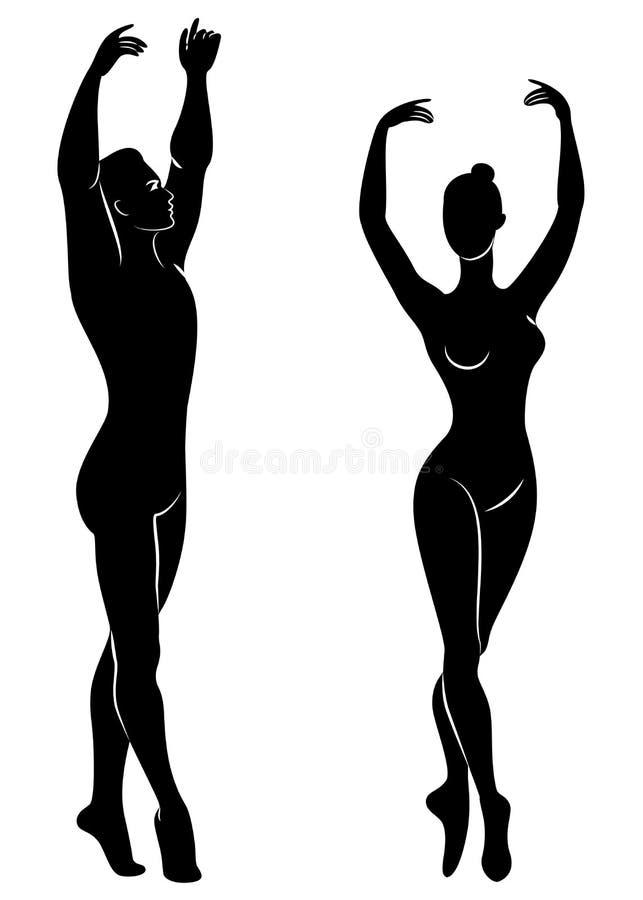Schattenbild einer netten Dame und der Jugend, tanzen sie Ballett Die Frau und der Mann haben sch?ne schlanke Zahlen M?dchenballe stockbild