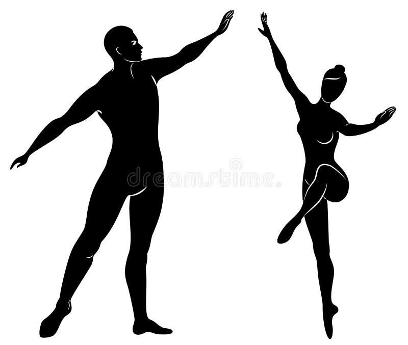 Schattenbild einer netten Dame und der Jugend, tanzen sie Ballett Die Frau und der Mann haben sch?ne schlanke Zahlen M?dchenballe vektor abbildung