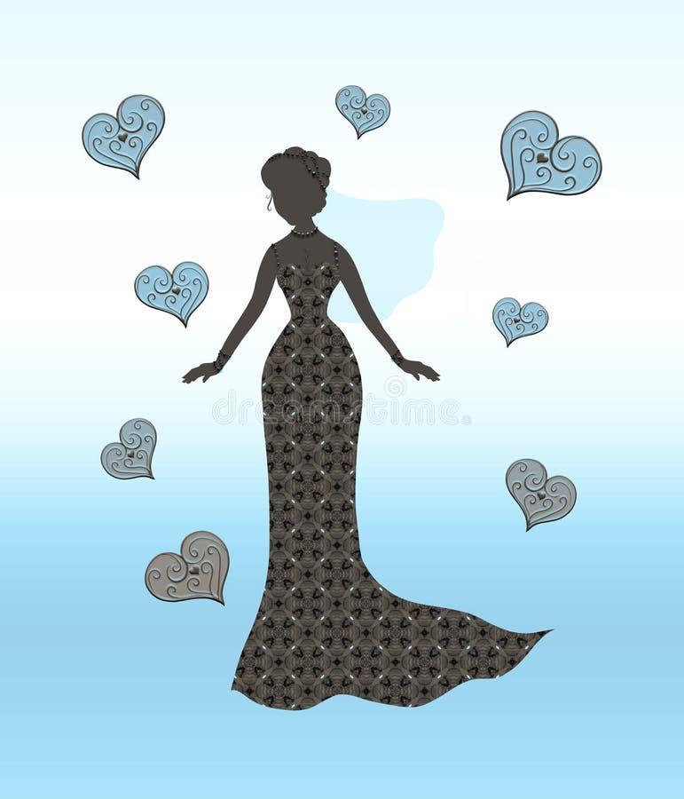 Schattenbild einer reizend Braut umgeben durch vorzügliche Herzen lizenzfreie abbildung