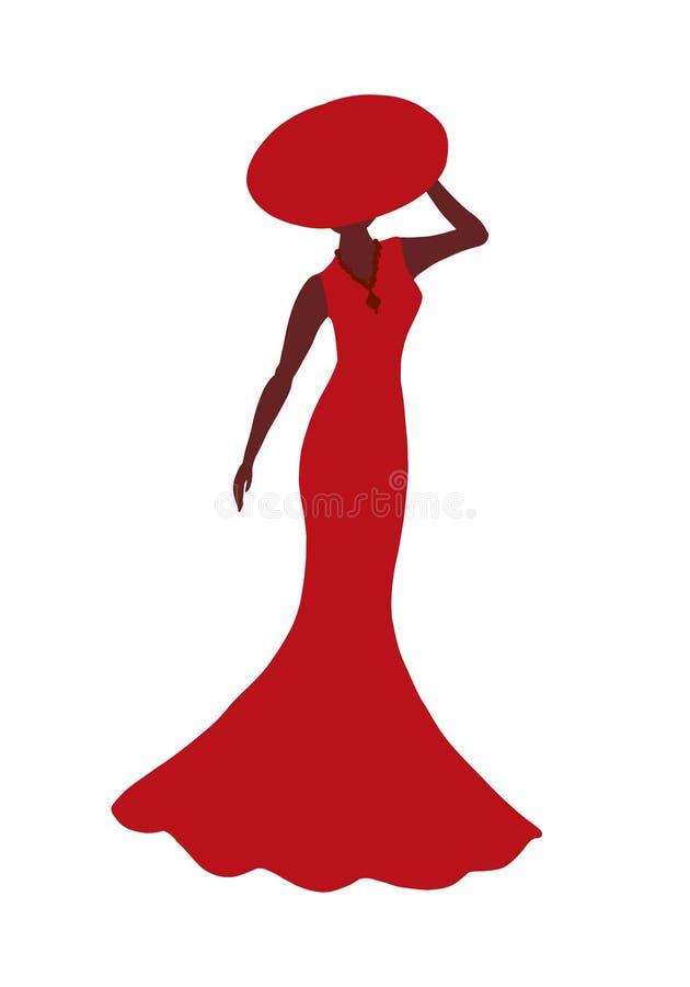 Schattenbild einer schönen Dame in einem roten langen Kleid und in einem Sommer ha lizenzfreie abbildung