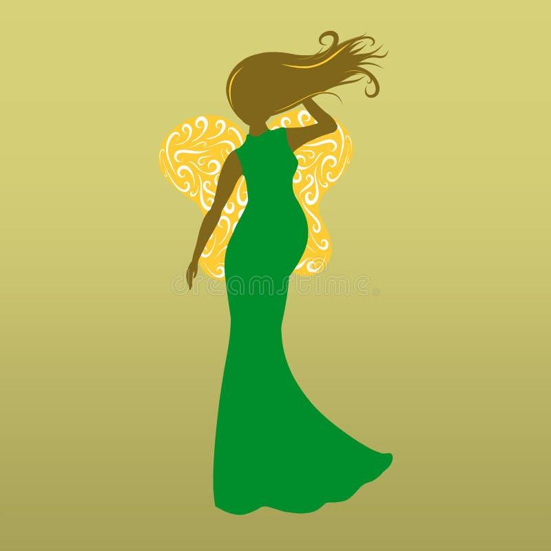 Schattenbild einer schönen schwangeren Dame mit Schmetterlingsflügeln, wi stock abbildung