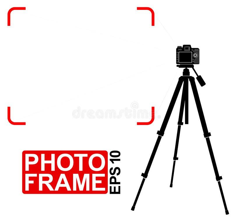 Schattenbild einer Spiegelkamera auf einem Stativ Feldkennzeichen Platz für Text oder Foto lizenzfreie abbildung