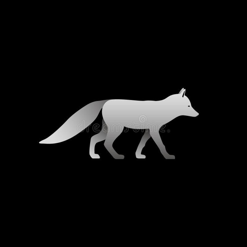Schattenbild einer Stellung des grauen Fuchses vektor abbildung