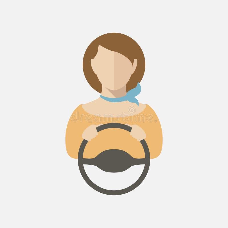 Schattenbild eines Autofahrens des jungen Mädchens Vektorillustration, Vektorikone lizenzfreie abbildung