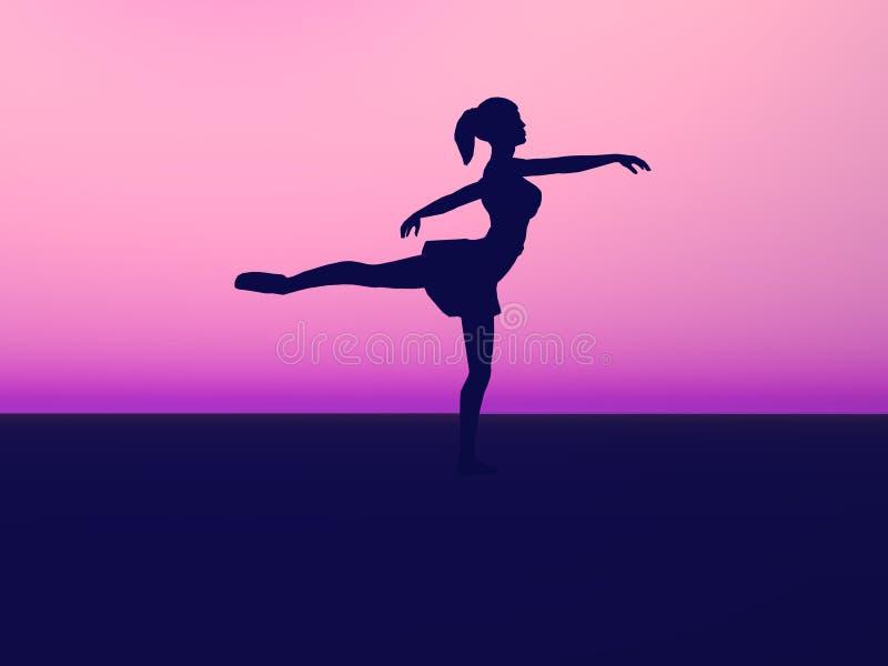 Schattenbild eines Balletttänzers. lizenzfreie abbildung
