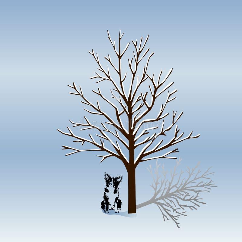 Schattenbild eines Baums ohne Blätter im Winter und ein Hund-silhoue lizenzfreie abbildung