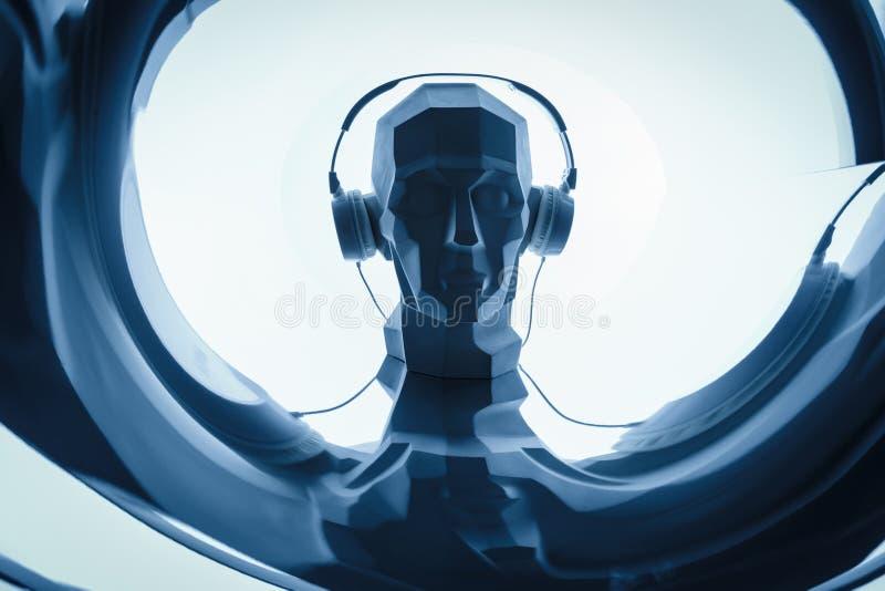 Schattenbild eines digitalen Kopfes des Cyber in Kopfhörer als DJ stockbild