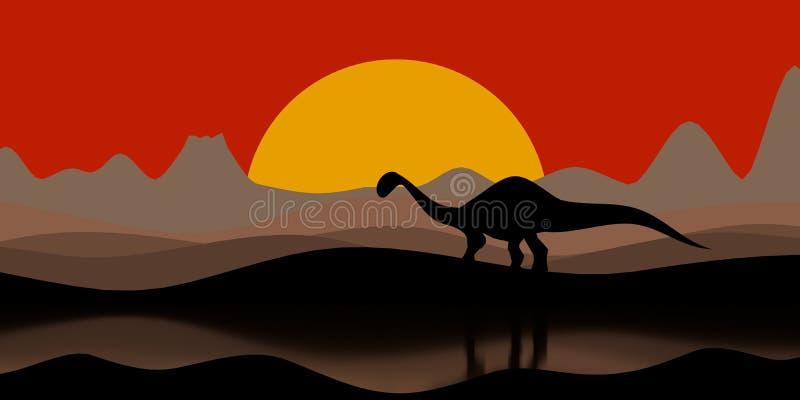 Schattenbild eines Dinosauriers am Sonnenuntergangabend mit einem Vulkan und Bergen auf der Illustration des Hintergrundes 3D stock abbildung