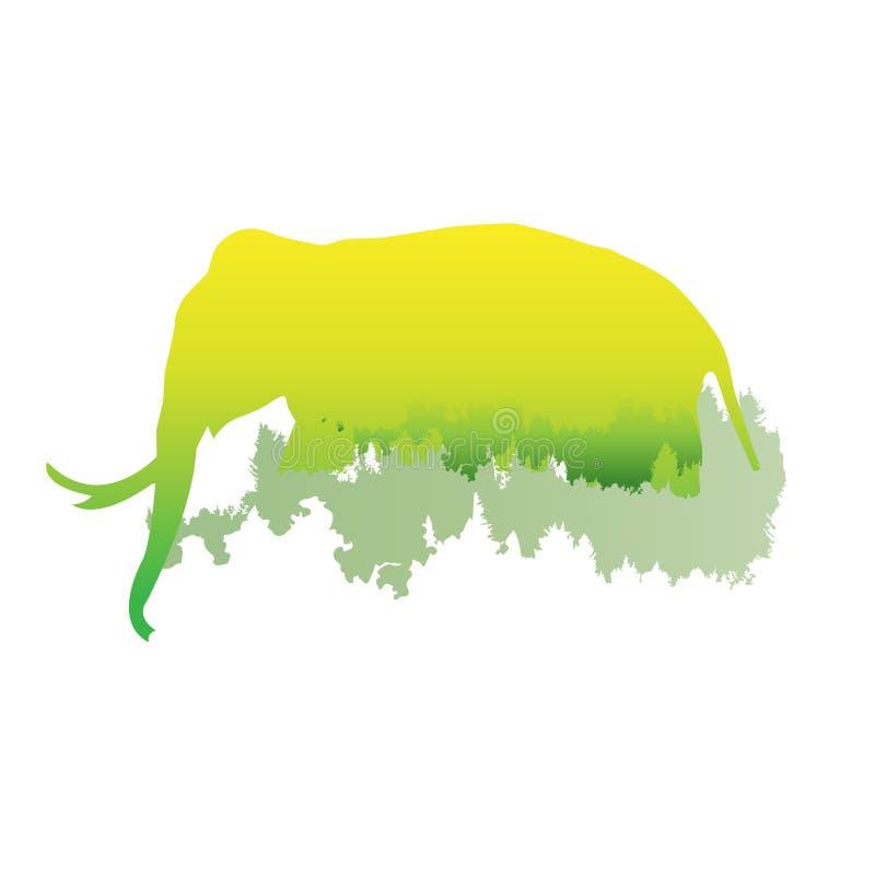 Schattenbild eines Elefanten innerhalb des Kiefernwaldes, helle Farben lizenzfreie abbildung