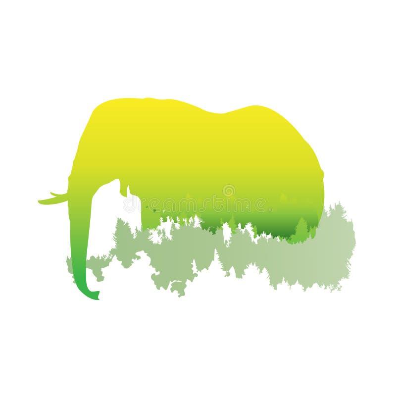 Schattenbild eines Elefanten innerhalb des Kiefernwaldes, helle Farben vektor abbildung
