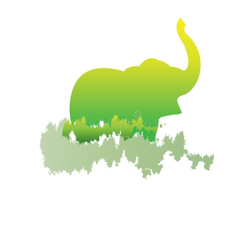 Schattenbild eines Elefanten innerhalb des Kiefernwaldes, helle Farben stock abbildung