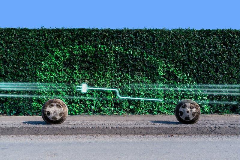 Schattenbild eines Elektroautos lizenzfreie stockfotografie