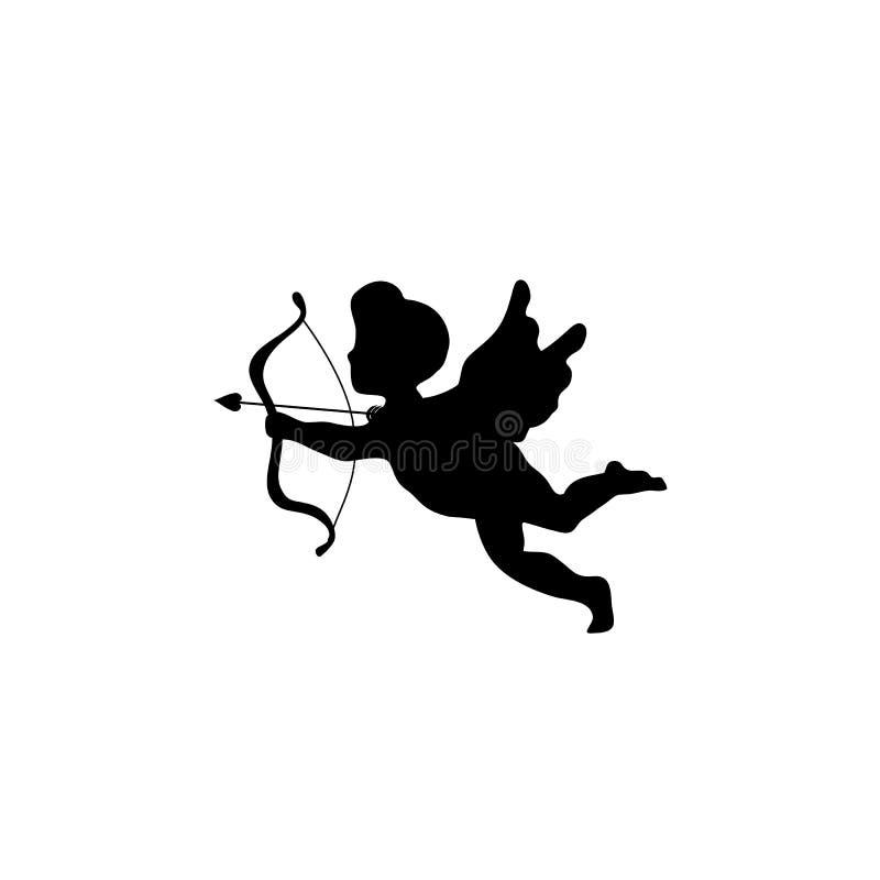 Schattenbild eines Engels, Amor mit einem Pfeil und Bogen, lokalisiertes Bild vektor abbildung