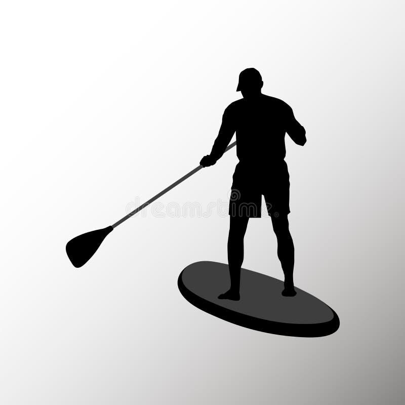 Schattenbild eines erwachsener oben schaufelnden Mannstands Porträt eines Mannes von der Rückseite lokalisiert auf weißem Hinterg stockfoto