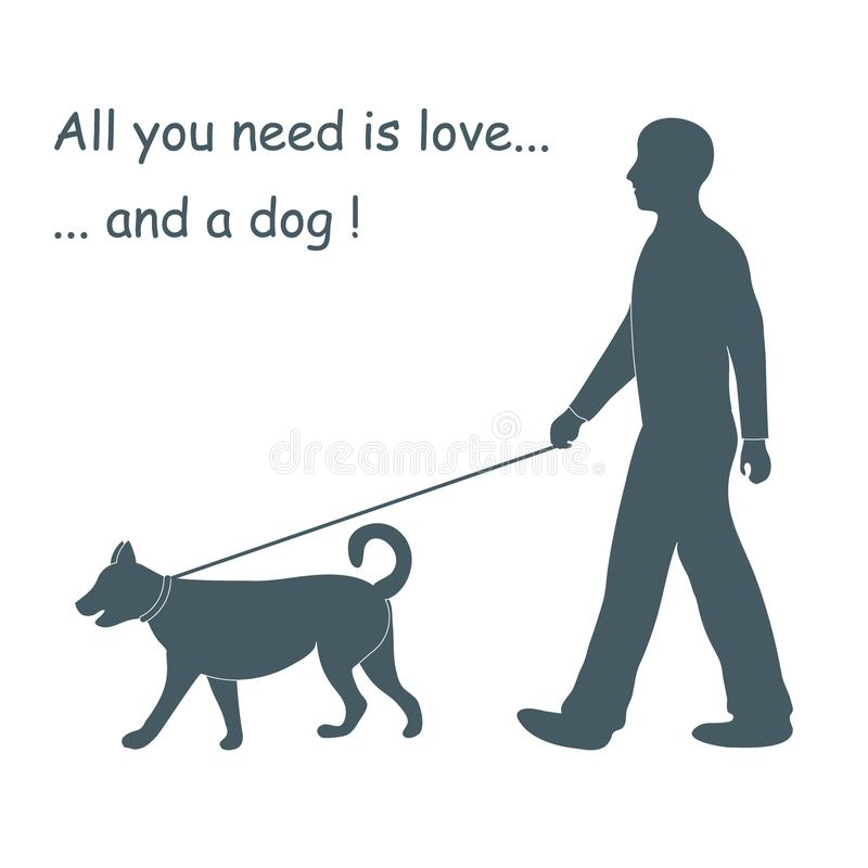 Schattenbild eines gehenden Mannes ein Hund auf einer Leine Gestaltungselement für stock abbildung