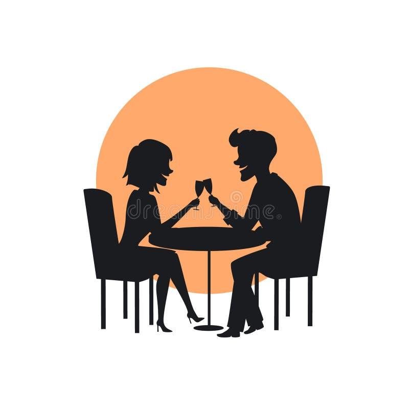 Schattenbild eines glücklichen netten Paares in der Liebe auf einem romantischen Datum im Restaurant stock abbildung