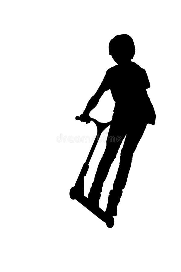 Schattenbild eines Jungen mit seinem Roller lizenzfreies stockbild