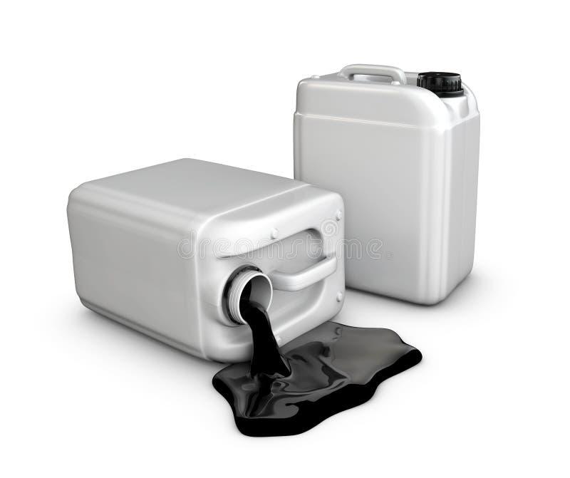 Schattenbild eines Kanisters des Öls, lokalisiertes Weiß, Illustration 3d stock abbildung