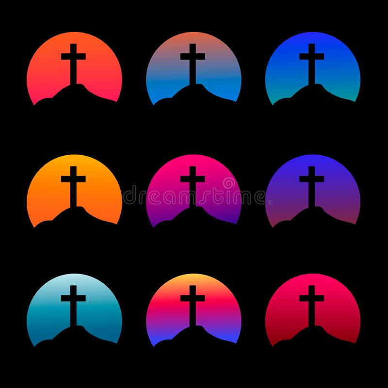 Schattenbild eines Kreuzes mit einem Steigungssonnenunterganghintergrund stock abbildung