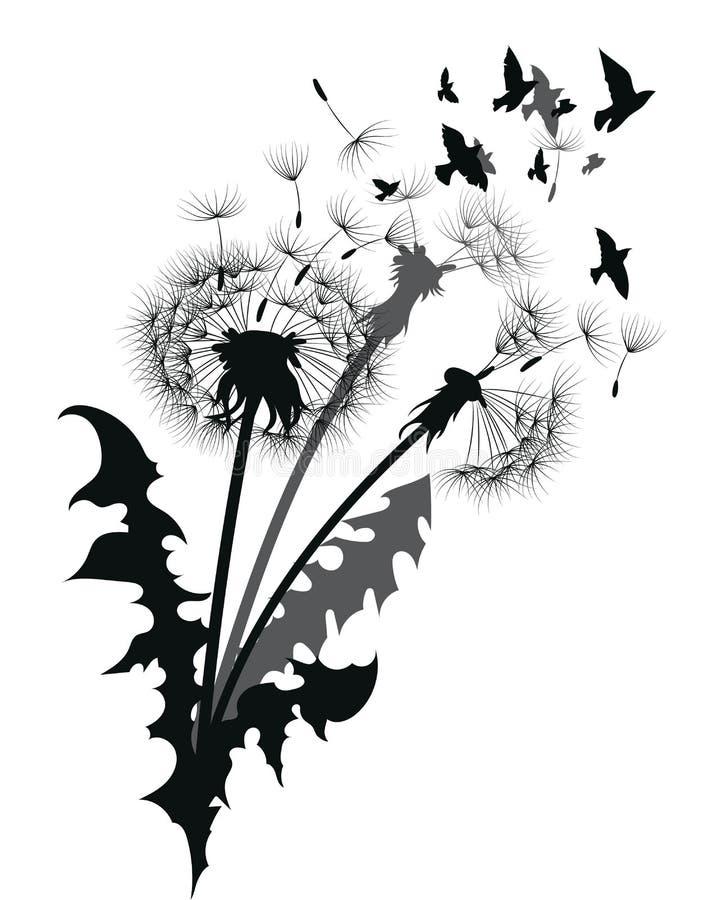 Schattenbild eines Löwenzahns mit Fliegensamen Schwarze Kontur eines Löwenzahns Schwarzweißabbildung einer Blume stock abbildung
