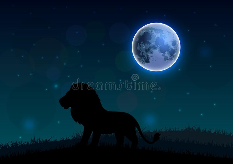 Schattenbild eines Löwes, der auf einem Hügel nachts steht vektor abbildung