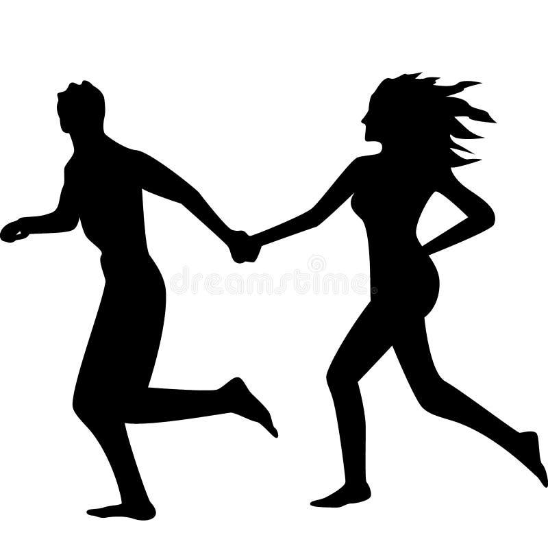 Schattenbild eines laufenden Paares lizenzfreie stockfotos