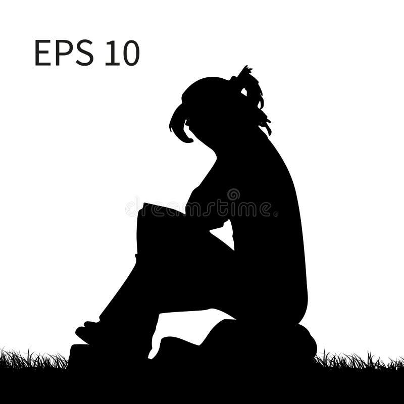 Schattenbild eines Mädchens, das auf einem Stein, ihr Gesicht, auf a bedeckend sitzt stock abbildung
