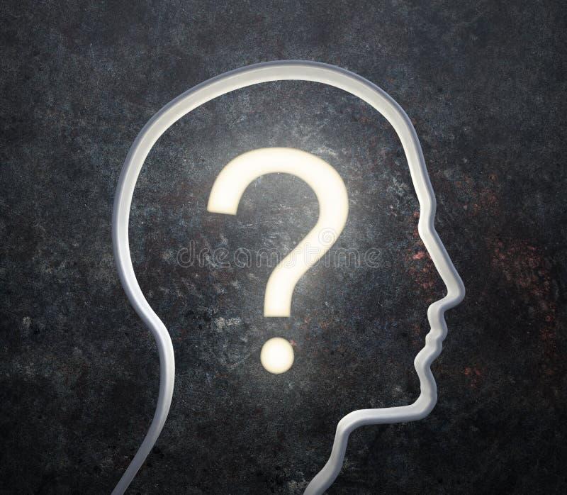 Schattenbild Eines Männlichen Gesichtes Mit Einer Glühenden Frage Lizenzfreies Stockbild