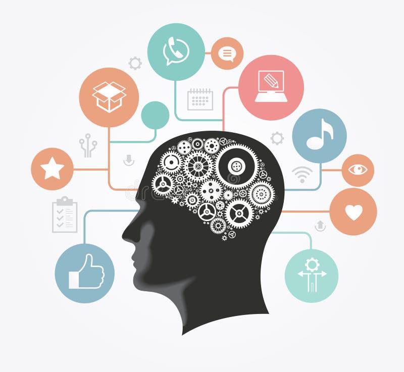 Schattenbild eines Mann ` s Kopfes mit Gängen in Form eines Gehirns umgeben durch Ikonen vektor abbildung