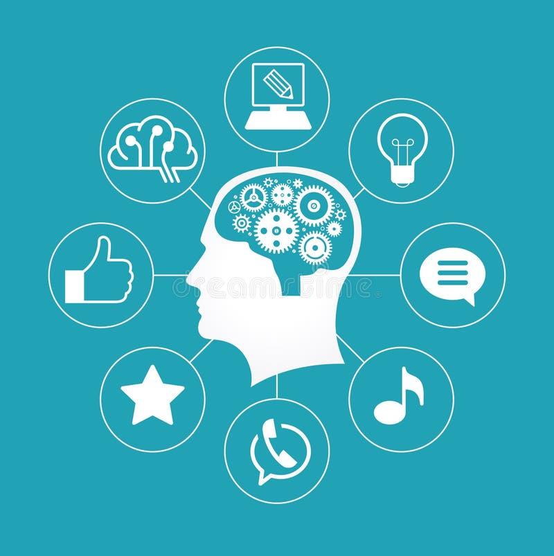 Schattenbild eines Mann ` s Kopfes mit Gängen in Form eines Gehirns umgeben durch Ikonen lizenzfreie abbildung