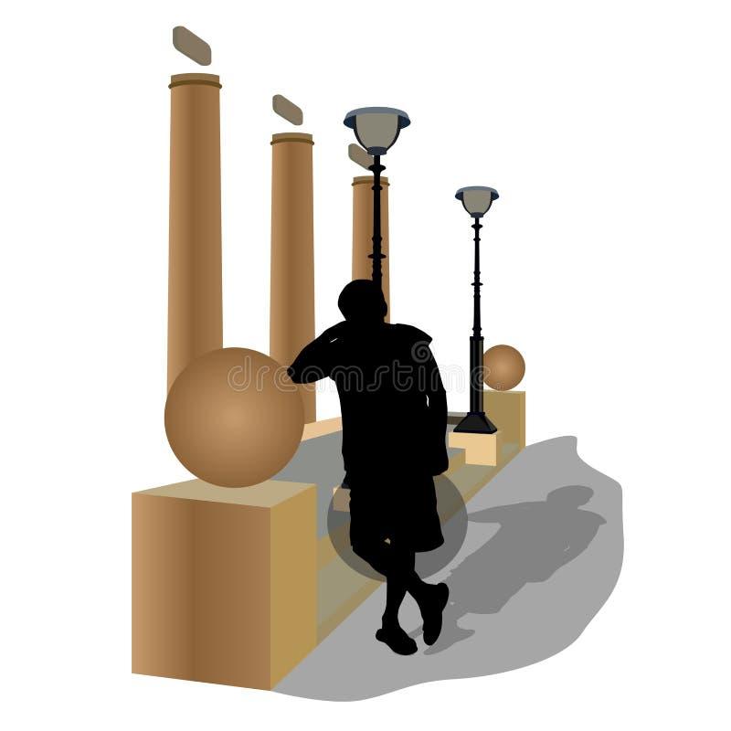Schattenbild eines Mannes auf einer spanischen südlichen Straße des Sommers vektor abbildung