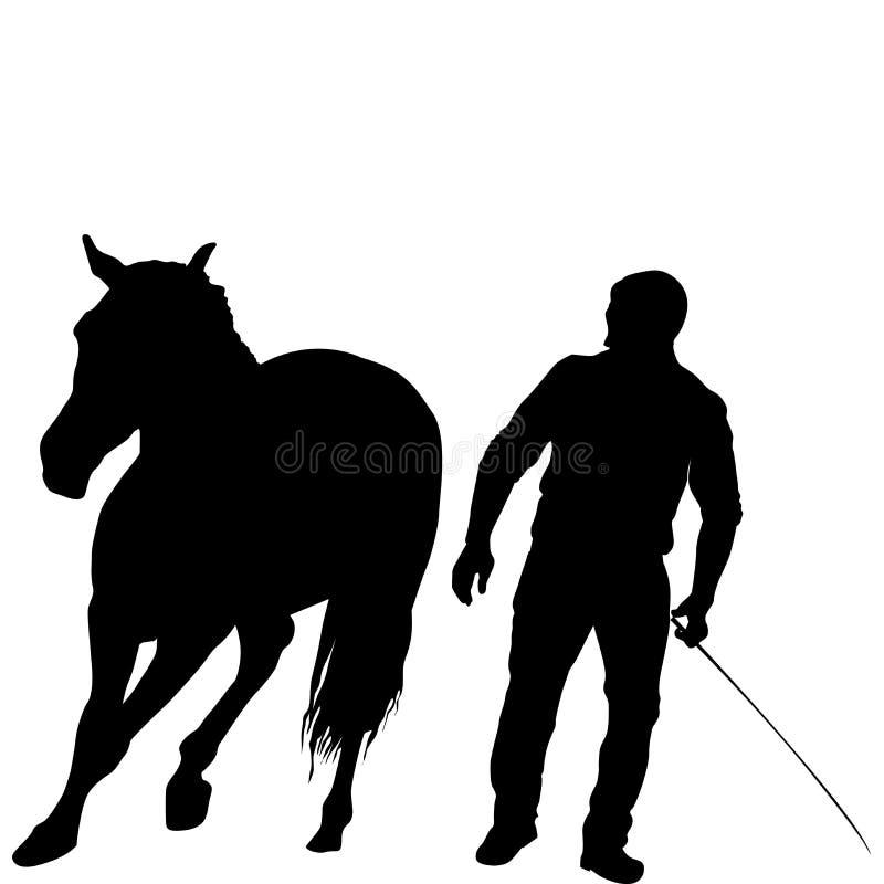 Schattenbild eines Mannes, der ein Pferd ausbildet stock abbildung