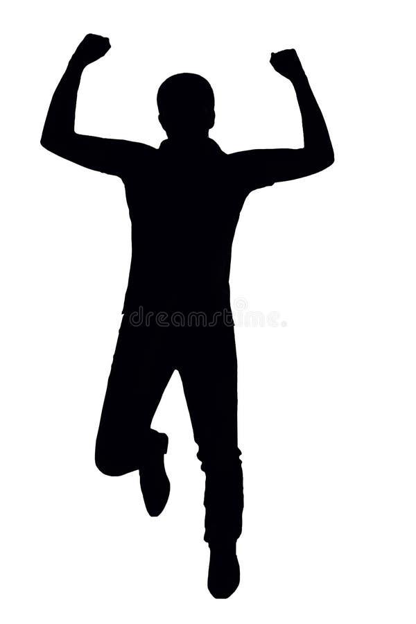 Schattenbild eines Mannes, der für Freude auf einem Weiß springt, lokalisierte Hintergrund stock abbildung