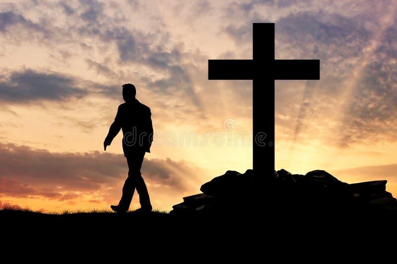 Schattenbild eines Mannes ein Atheist lizenzfreies stockbild