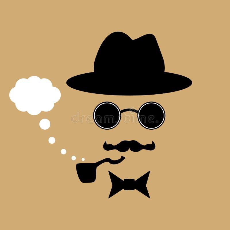 Schattenbild eines Mannes im Hut mit dem Schnurrbart, den Gläsern, Rohr und Fliege Auch im corel abgehobenen Betrag vektor abbildung