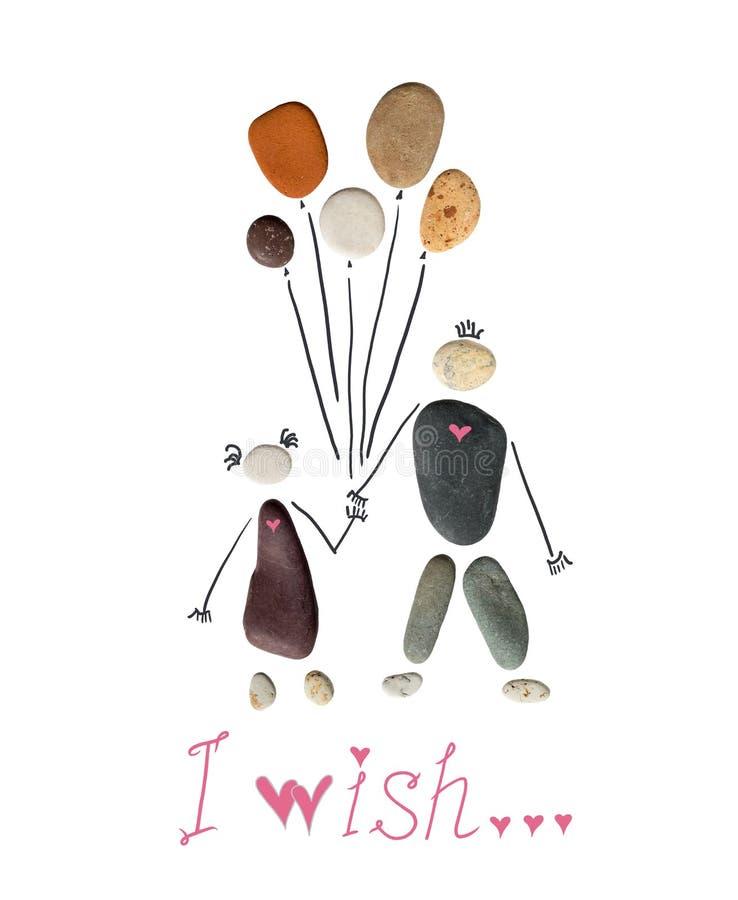 Schattenbild eines Mannes und der Frau, die Ballone halten Die Aufschrift, unten, das ich wünsche Begriffsbild der Liebe und der  lizenzfreie stockfotografie
