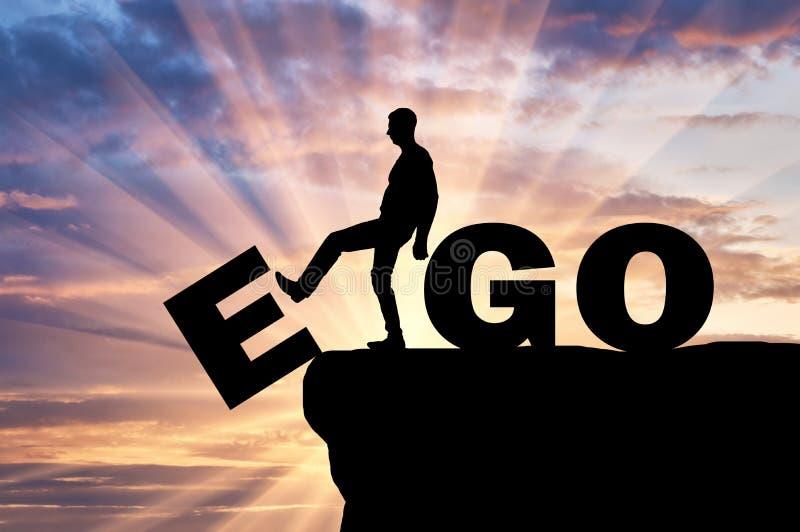 Schattenbild eines Mannes wird das Ego als schlechte Gewohnheit los lizenzfreie stockfotos