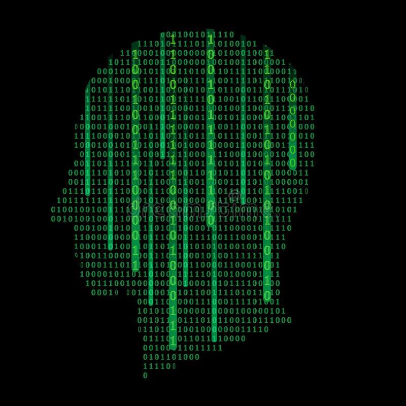 Schattenbild eines menschlichen Kopfes gefüllt mit binär Code - Vektorillustration stock abbildung