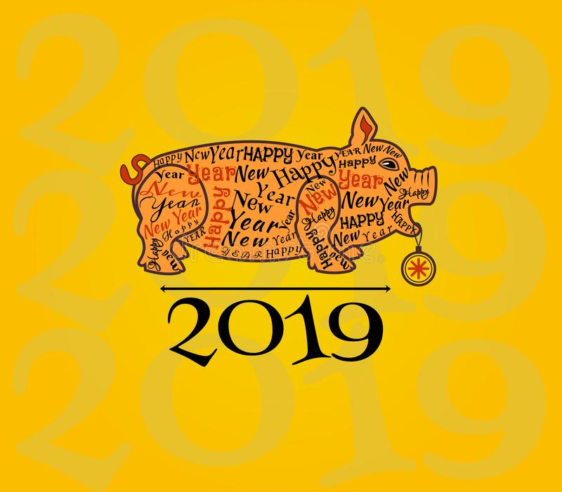 Schattenbild eines orange Schweins mit Aufschriften entlang der Kontur auf einem gelben Hintergrund Gruß des neuen Jahres vektor abbildung
