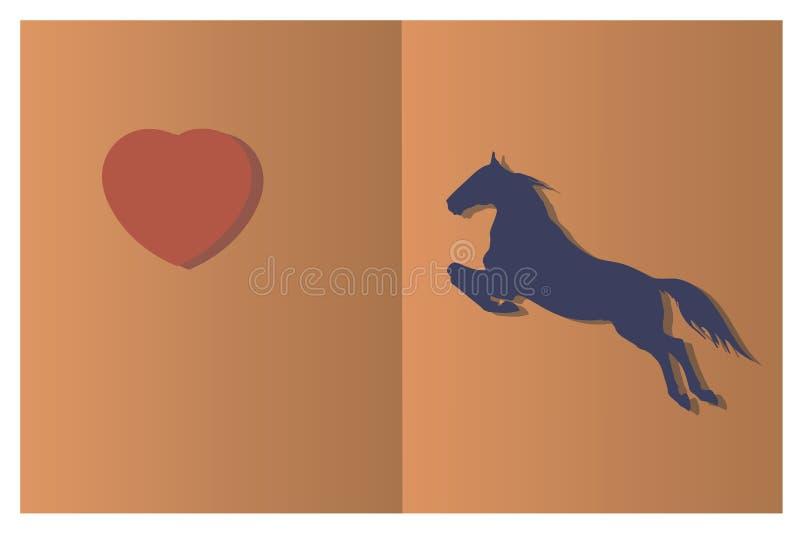 Schattenbild eines Pferds, das zum Herzen springt 'Papierschnitt'Art stock abbildung