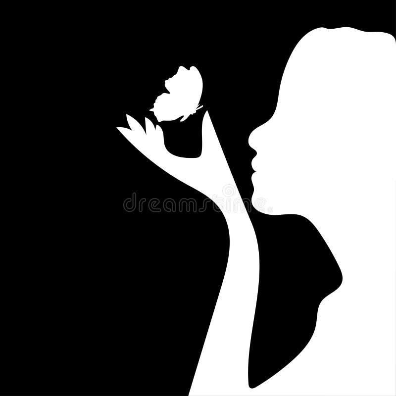 Schattenbild eines Schönheitsmädchens mit Schmetterling Auch im corel abgehobenen Betrag stock abbildung