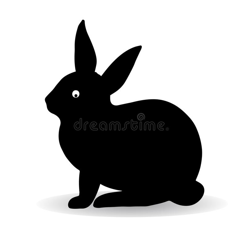 Schattenbild eines schwarzen Hasekaninchens, schief sitzend und schauen lizenzfreie abbildung