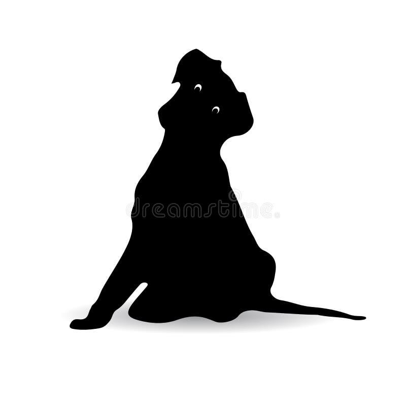 Schattenbild eines schwarzer Hundesitzens überrascht, Karikatur stock abbildung