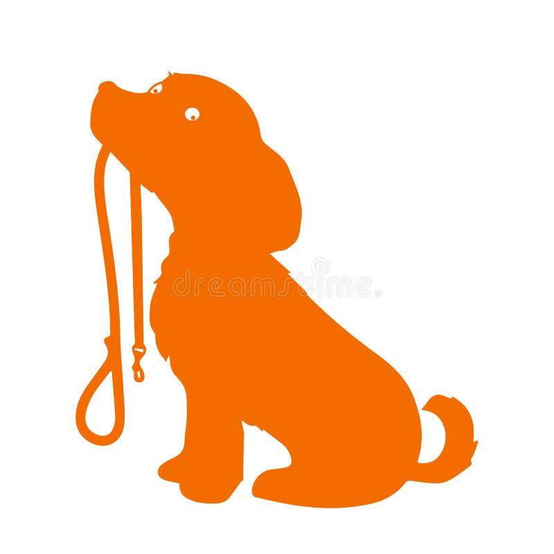 Schattenbild eines sitzenden Hundes, der es hält, ist Leine in seinem Mund und geduldig wartet, um spazierenzugehen lizenzfreie stockbilder
