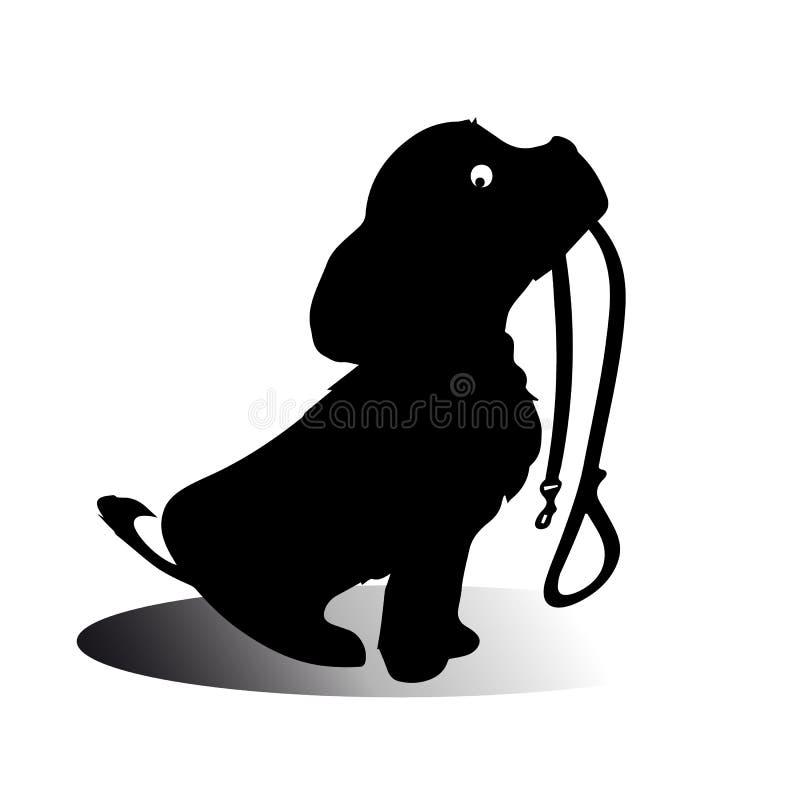 Schattenbild eines sitzenden Hundes, der es hält, ist Leine in seinem Mund und geduldig wartet, um spazierenzugehen vektor abbildung