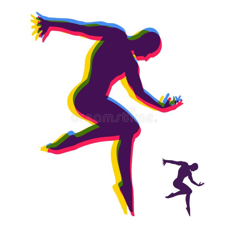 Schattenbild eines Tänzers Turner-Mann wirft auf und tanzt Sportsymbol Vektorbild, Abbildung Auch im corel abgehobenen Betrag vektor abbildung