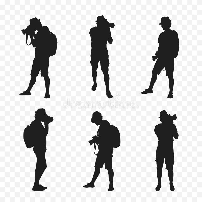 Schattenbild eines Touristen mit Kamera lizenzfreie abbildung