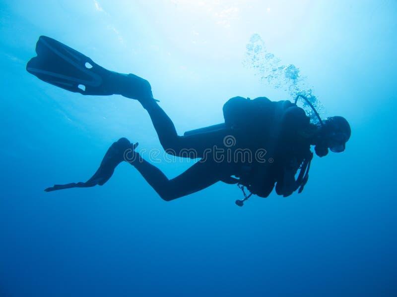 Schattenbild eines Unterwasseratemger?ttauchers stockbilder